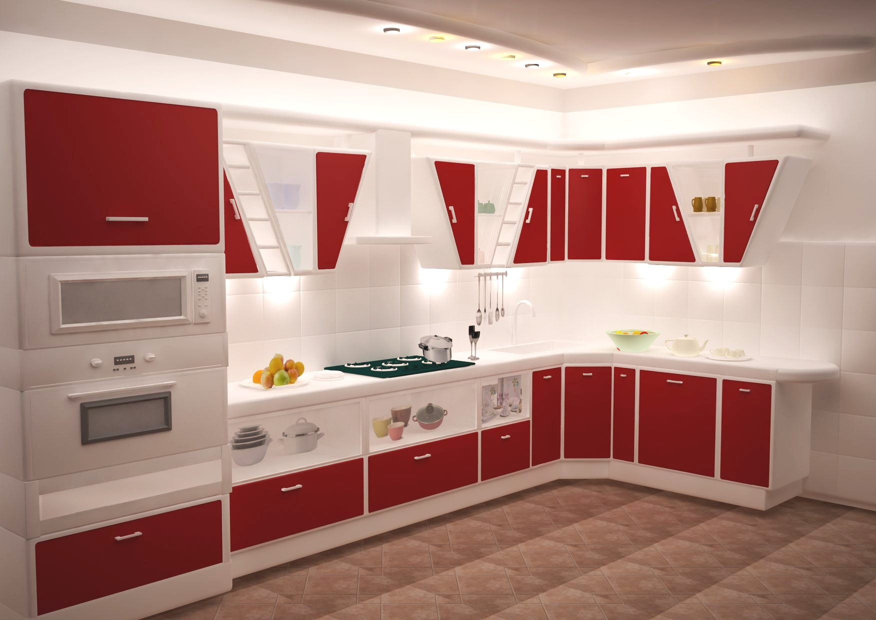 Bright modular kitchen with inbuilt chimney,glass stove top, microwave  oven