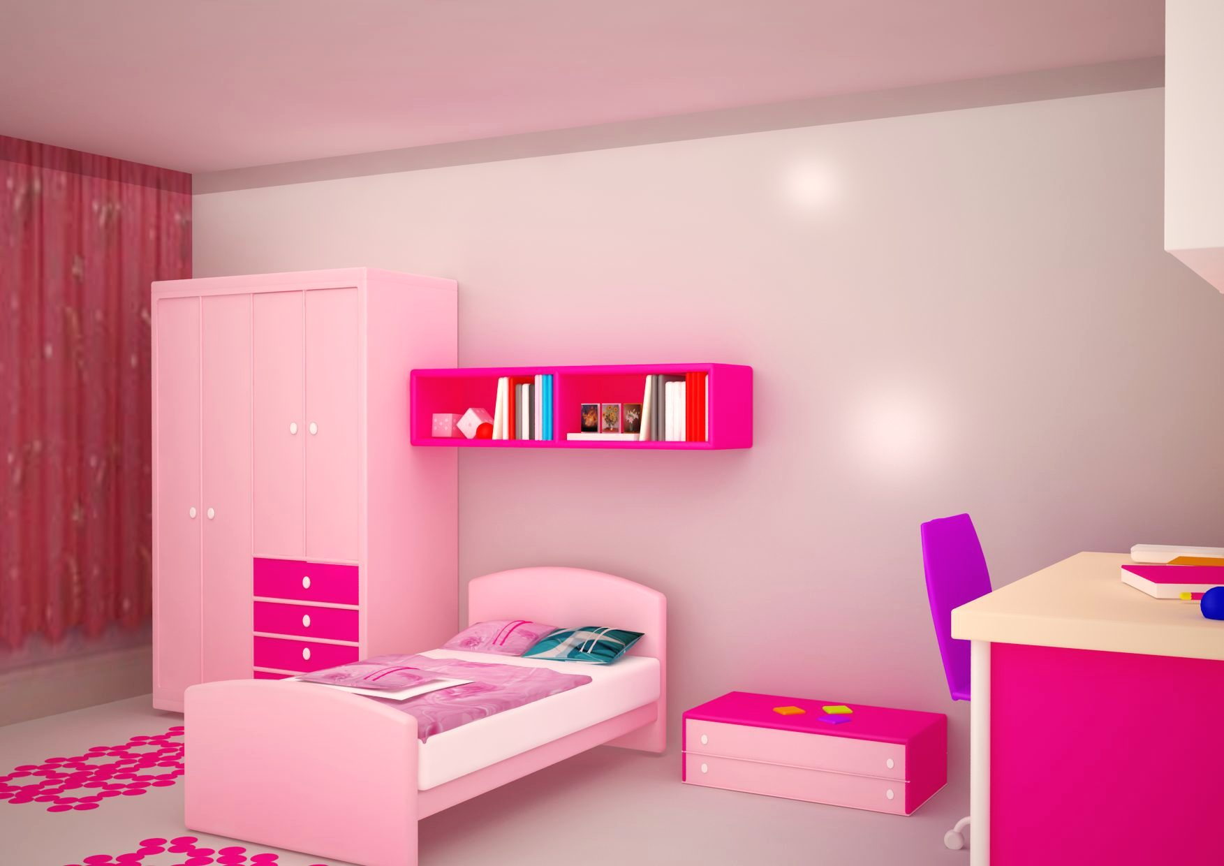 Childrens bedroom with a cabinet to store toys and books with complementary study table
