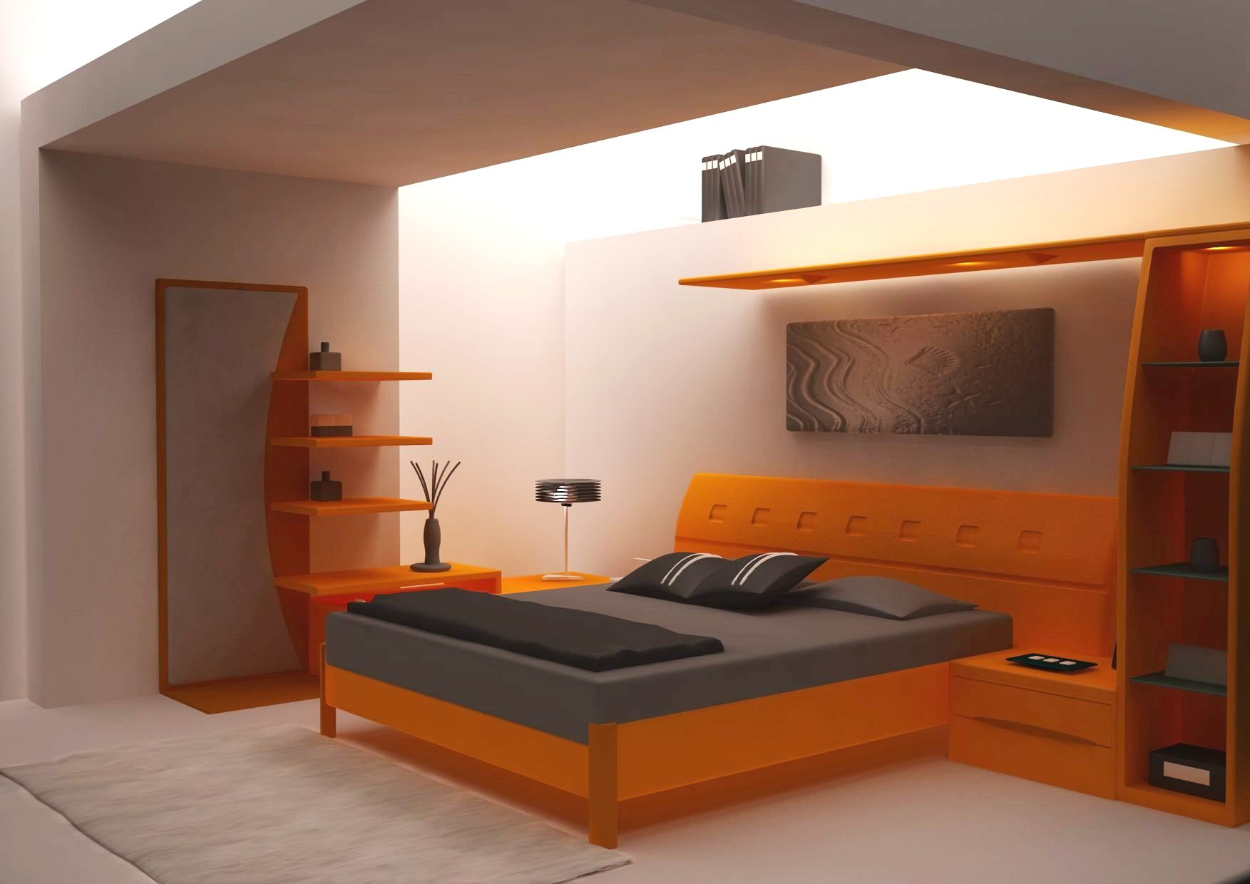 Modern master bedroom with bright orange colour to add fun to life