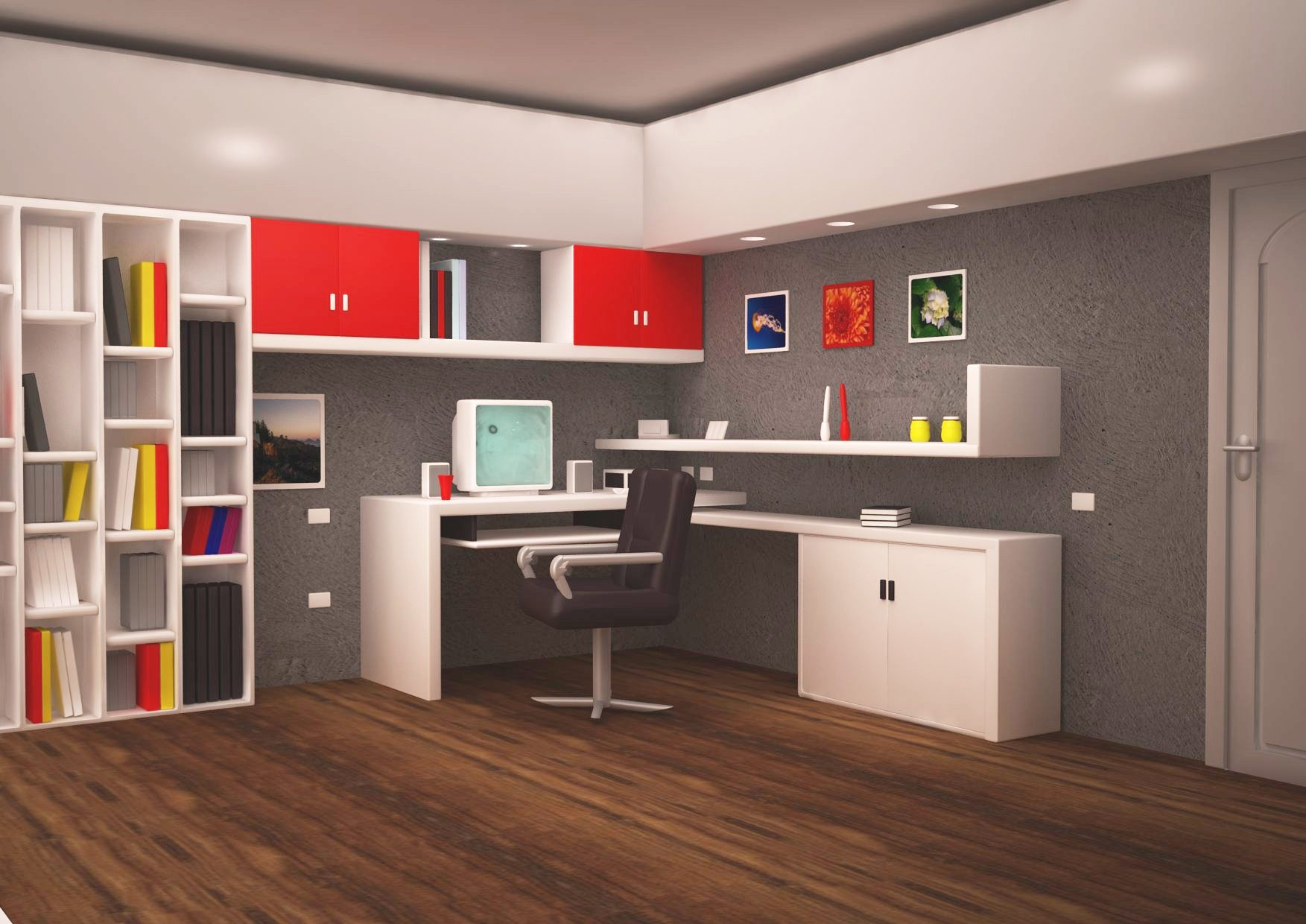 Office room with inbuilt cabinets