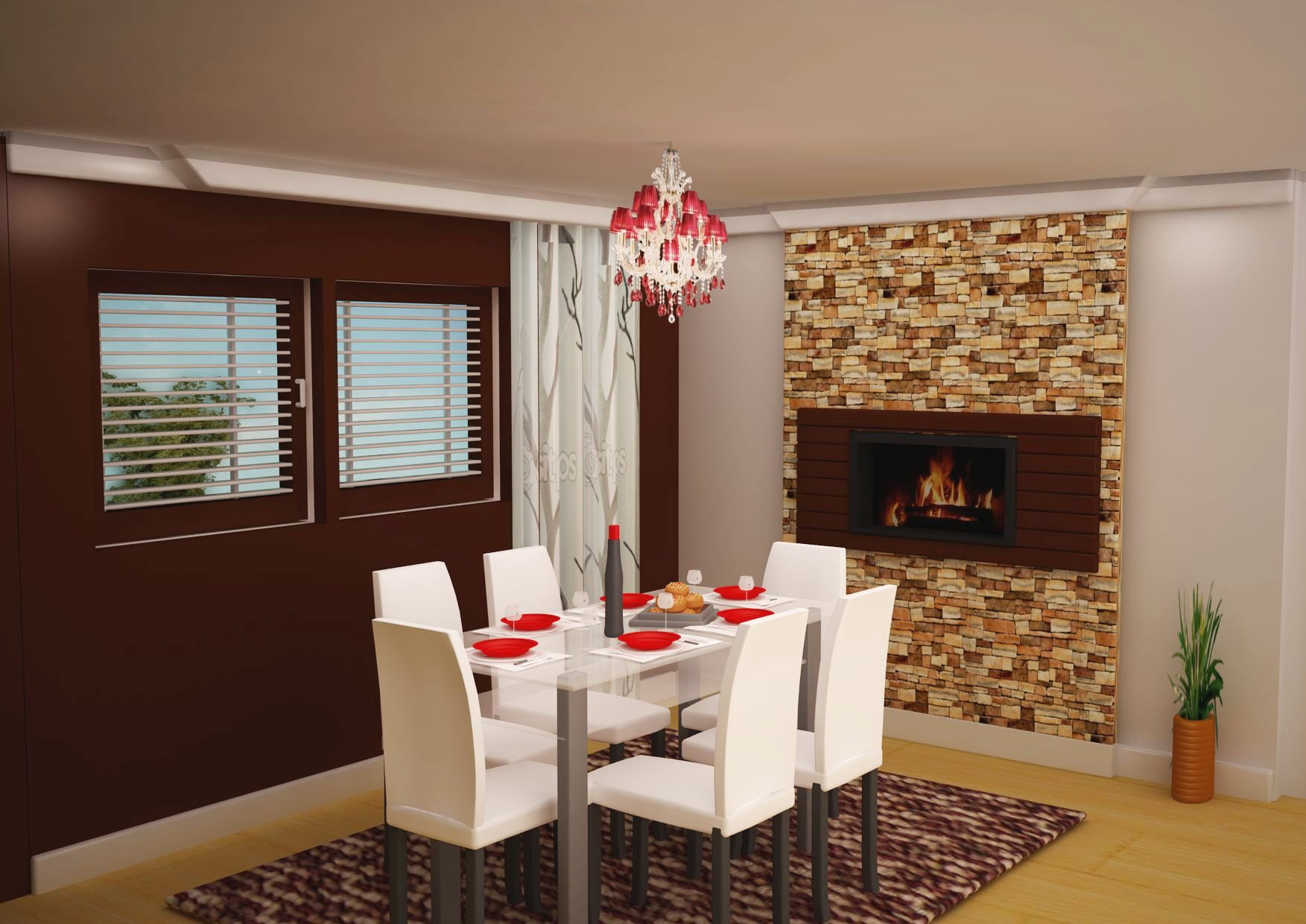 Sophisticated dining area with inbuilt fire place and brick wall