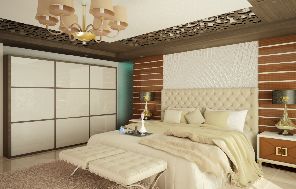 Contemporary master bedroom with wooden roof carving