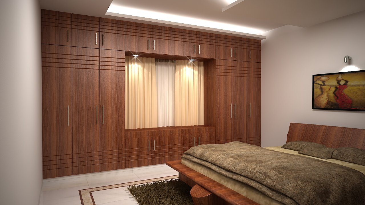 Master bedroom with wooden cabinets