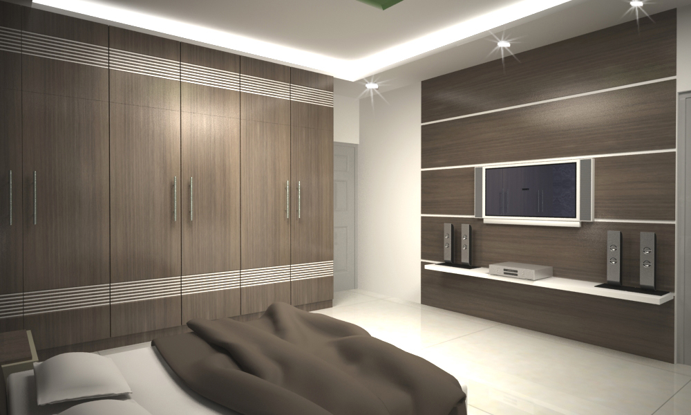 Bedroom with full fledged cabinets