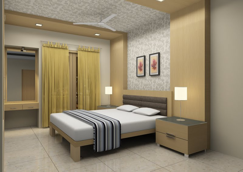 Bedroom with plesant mustard colour
