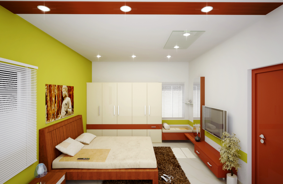 Master bedroom with wall paintings