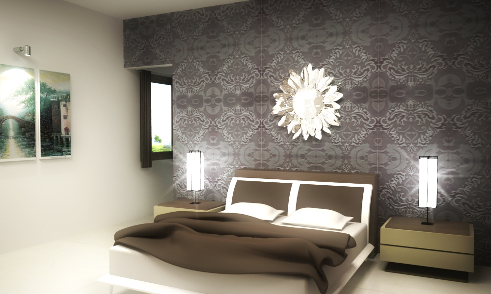 Flower shaped mirror decorated in a grey contrast bedroom