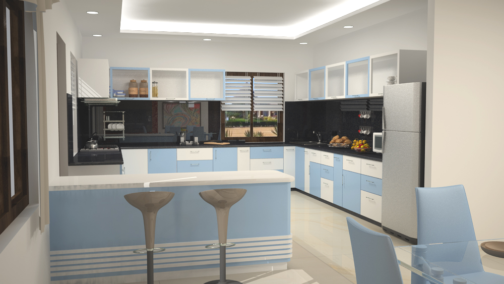L shaped modular kitchen with dining space