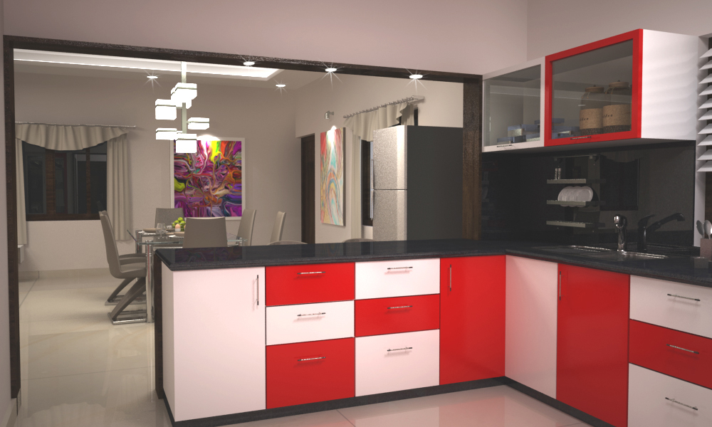 Contrast cabinets for a modular kitchen