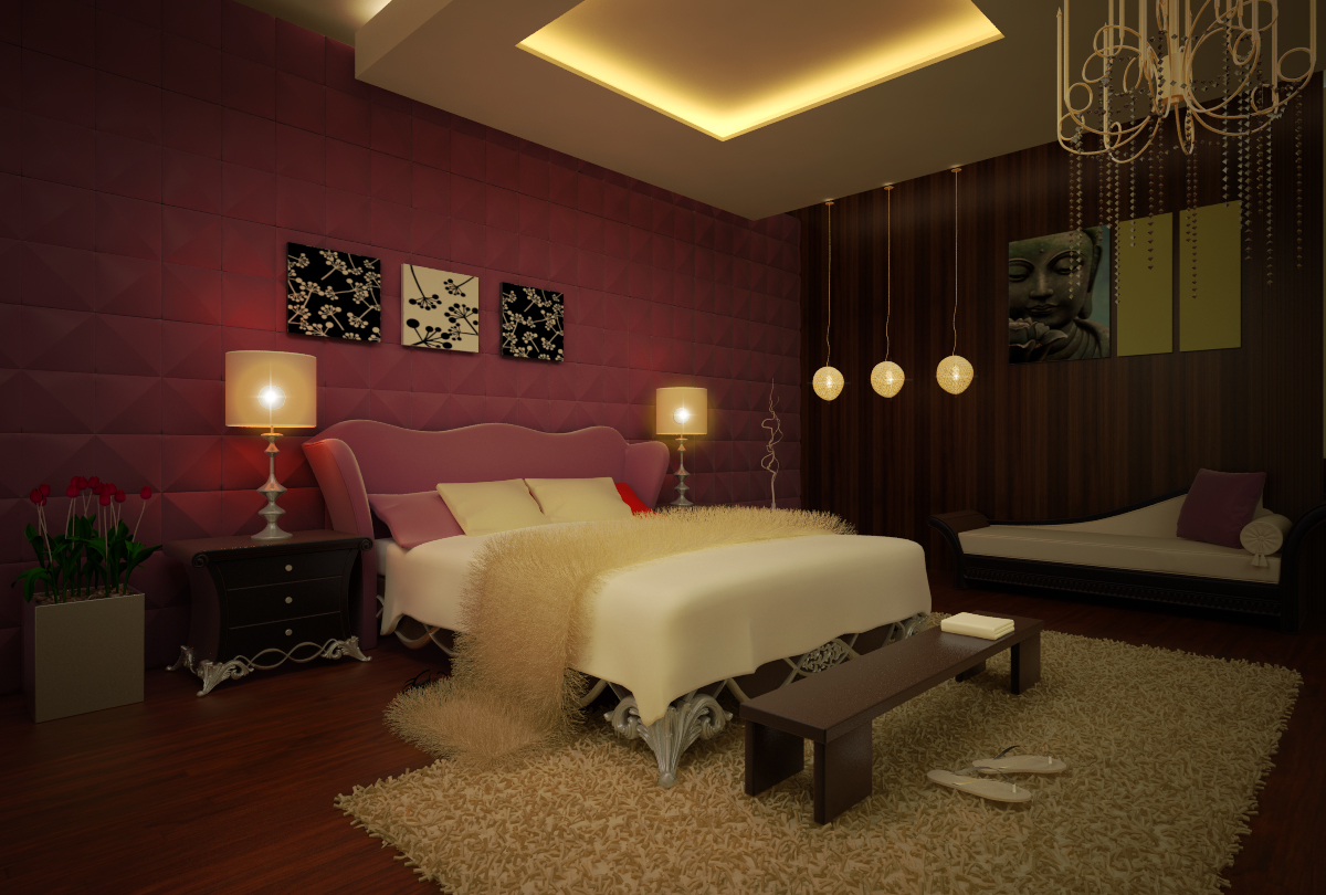 Burgundy touch to bedroom